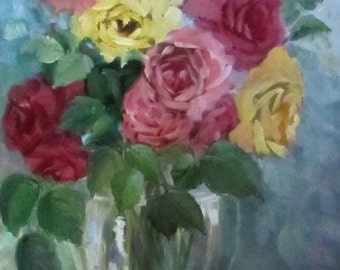Colorful And Brilliant Bouquet of Mixed Roses, Still Life Painting, Canvas Original by Cheri Wollenberg