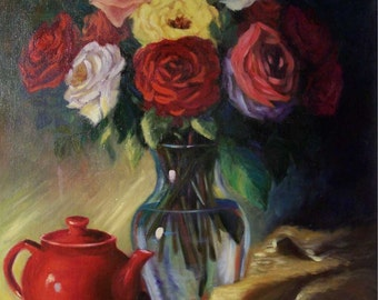Rose Still Life Painting Red Teapot Mixed Roses Bouquet Original Canvas Oil Painting by Cheri Wollenberg