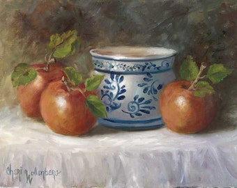 Still Life Painting, Apples with Blue and White Bowl, Food Art,  Original Oil Painting - 9x12 inch Canvas by Cheri Wollenberg