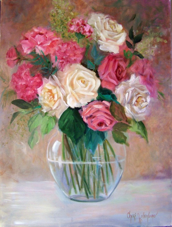 Victorian Roses 1 - Original Oil Painting - 12x16 Stretched Canvas