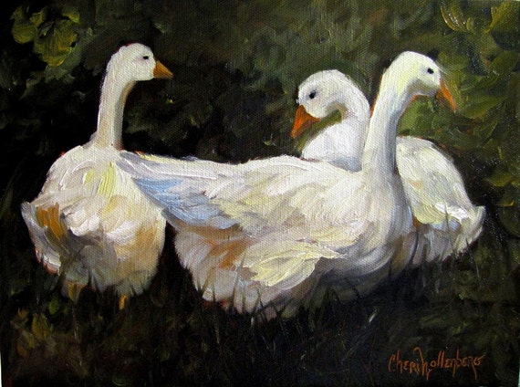 Geese Klatsch - 9x12 Original Oil Painting
