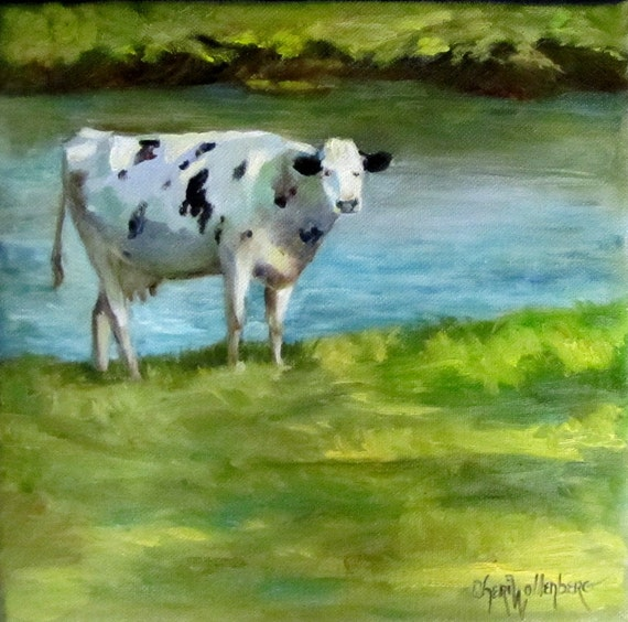 Original Oil Painting Holstein Cow 10x10 Wrap Around Canvas by Cheri Wollenberg