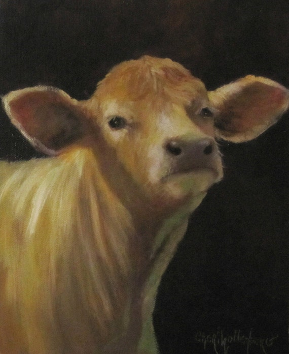 Cow Art Painting Blondie Small Canvas 8x10 Original Oil Painting by Cheri Wollenberg