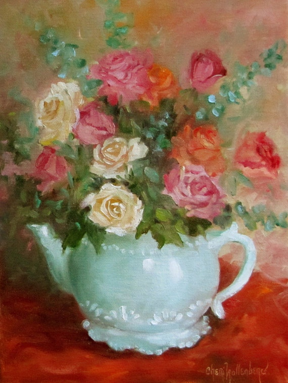 Still Life,Roses,Rose Bouquet,Teal,Red,Pink,Orange,Oil Painting,Original,9x12,Canvas,Cheri Wollenberg