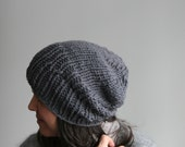 Hand Knit Hat, Folded Brim or Slouchy. Soft Merino Wool, in Slate.