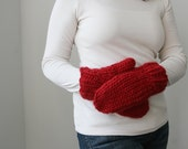 The Gather MIttens. Hand Knit, Chunky Mittens. Alpaca and Wool, in Flame.