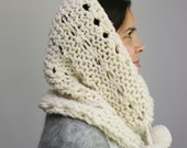 Hand Knit Chunky Cowl/Circle Scarf with Eyelet Pattern and Pom Poms. Soft Merino Wool, in Soft White.
