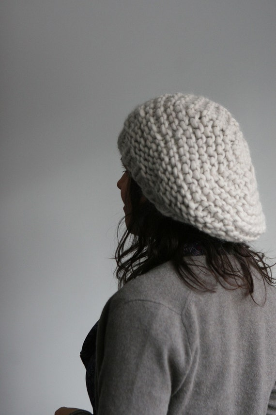 Hand Knit, Chunky and Slouchy Beret. Alpaca and Wool, in Pale Pewter.