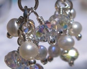 fatdog Wedding Collection Earrings - BSE711 Freshwater Pearl and Swarovski Crystal Cluster 2