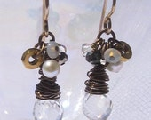 fatdog ToolBox Collection Earrings - TBE215 Rock Quartz Crystal with Moonstone, Opal, Pyrite, Pearl and Crystal