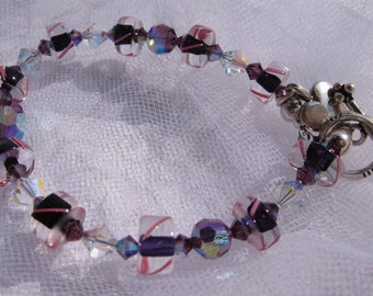 fatdog Bracelet - B1027 Purple Cane Glass and Crystal with Round Toggle Clasp and Smooth Heart Charm