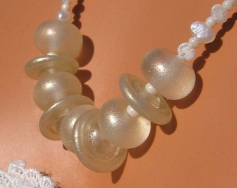 fatdog Necklace - N108 Gold Shimmer Lampwork Bead and Pearl