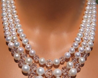 fatdog Wedding Collection Necklace - BSN201 Freshwater Pearl and Swarovski Crystal Vintage Reproduction 23 Inch 3-Strand