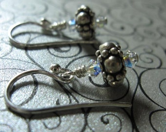 fatdog Earrings - EB101 Sterling Silver Bead and Swarovski Crystal Clear AB