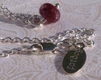 fatdog Necklace - NBS7 Birthstone July Ruby Gemstone