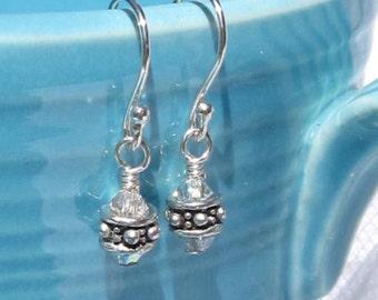 fatdog Earrings - EB107 Sterling Silver Bead and Swarovski Clear Crystal AB