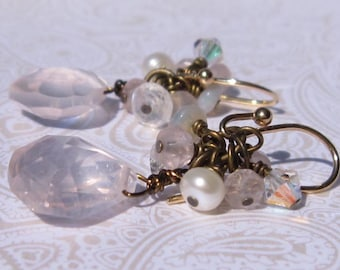 fatdog Earrings - E13 Rose Quartz with Moonstone, Opal, Pearl, and Crystal
