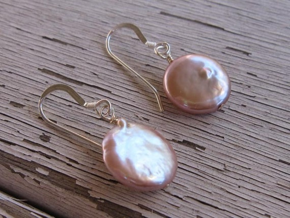 fatdog Earrings - ECP106 Freshwater Coin Pearl Mauve Large