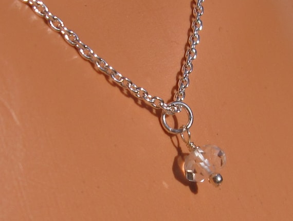 fatdog Necklace - NBS4 Birthstone April Quartz Crystal Gemstone