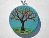 Autumn Hand Painted Pendant, OOAK