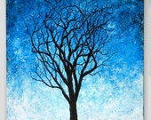 Tree on Blue with a Moon 18 X 24