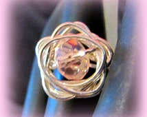 Silver Filled Wire Wrapped Flower Blossom Ring with Pink Rondelle