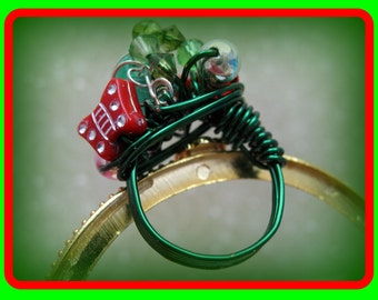 Christmas Ring In Size 7 Forest Green Wire Wrapping SALE 8.00
