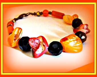 Autumn and  Halloween Oranges in Mother of Pearl and Glass Black Beads Bracelet
