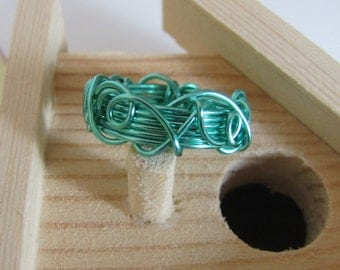 Wire Wrapped Wide Designer Ring Band With Overlay You Choose from Many Bright Colored Wires