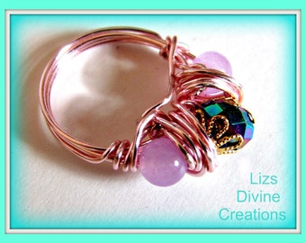 Pink Wire Wrapped Ring with Lavender Jade and Rainbow Rondelle Was 15.99 Now Only 12.99