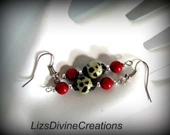 Red Coral and Dalmatian Jasper Earrings SALE Was 12.00 Now Only 8.00