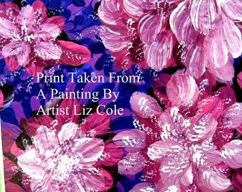 Floral Abract Print on Card and Envelope or Magnet A Mauve And Periwinkle Abstract  SALE 4.00