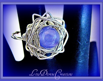One Lavender Quartz and Sterling Silver Star, Wire Wrapped Ring