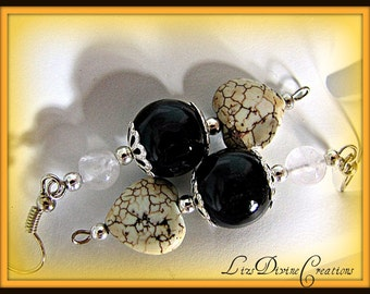 Rose Quartz, Black Onyx,and Magnesite Heart Semi-Precious Earrings SALE Was 15.00 Now 10.00