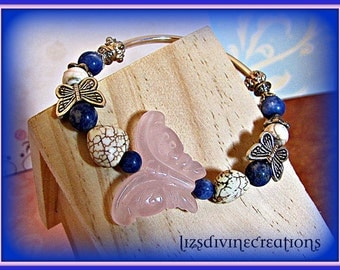 Beautiful Rose Quartz Butterfly, Silver, Sodalite and Magnesite Heart Stretch Bracelet SALE Was 16.99 Now Only 10.99