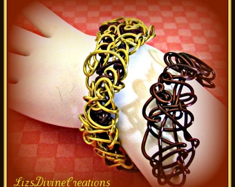 Brown and Gold Two Toned Wire Wrapped Cuff Bracelet SALE Was 15.99 Now Only 12.00