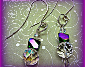 Emerald and Laser Purple with Clear Ab Faceted Round Crystal Earrings Was 15.00 SALE Now Only 7.99