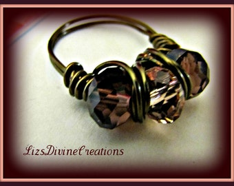 Plum Smoky Topaz and Pink Gunmetal Wire Wrapped Ring SALE Was 25.00 Now Only 18.00