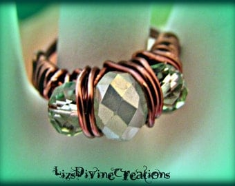 Opaque Mint Green Alabaster Crystal and Fancy Copper Wire Wrapped Ring SALE Was 17.00 Now 14.00