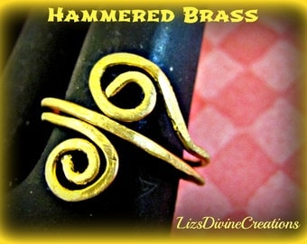 Hammered Brass or Copper,  Swirl Adjustable Ring SALE was 15.00 Now 9.00