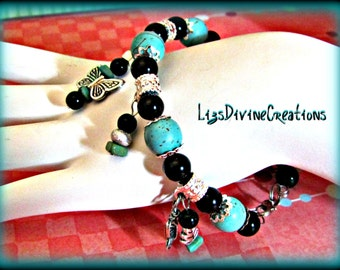 Turquoise, Magnesite,Silver and Black Obsidian Bangle Charm Bracelet