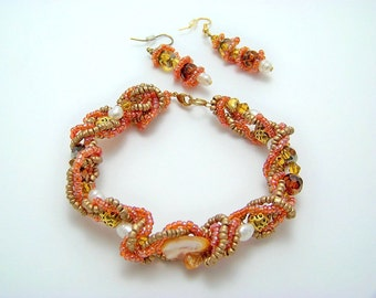Autumn Amber, Gold,and Mop Multistranded Bracelet and Earrings with Pearls  SALE Was 35.00 Now 25.00