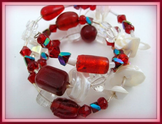 Now on SALE  Elegant  Red, White Crystals with AB  Shimmer  in ,Various Shapes and Sizes , on Memory Wire with White Shells in a Beautiful BraceletWas 12.00 Now Only 8.00