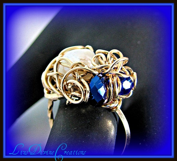 Beautiful Fresh Water Pearl and Cobalt Blue Crystal Gold Filled Wire Wrapped OOAK Ring Size 71/4 SALE Was 75.00 Now Only 55.00