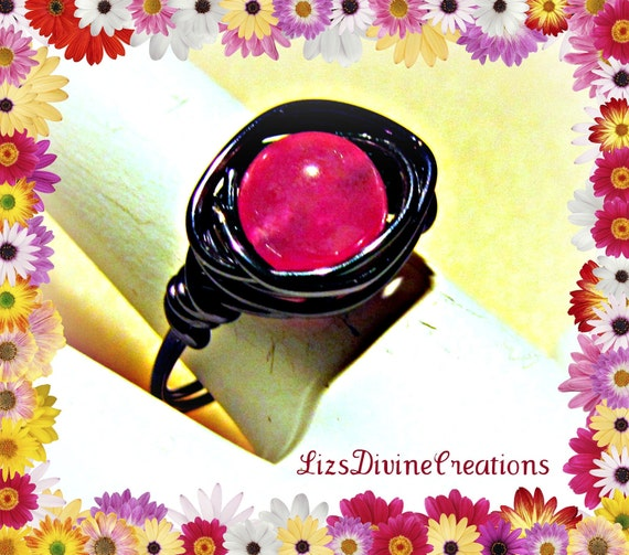 Hot Pink Agate Ring Wrapped In Hematite Colored Wire