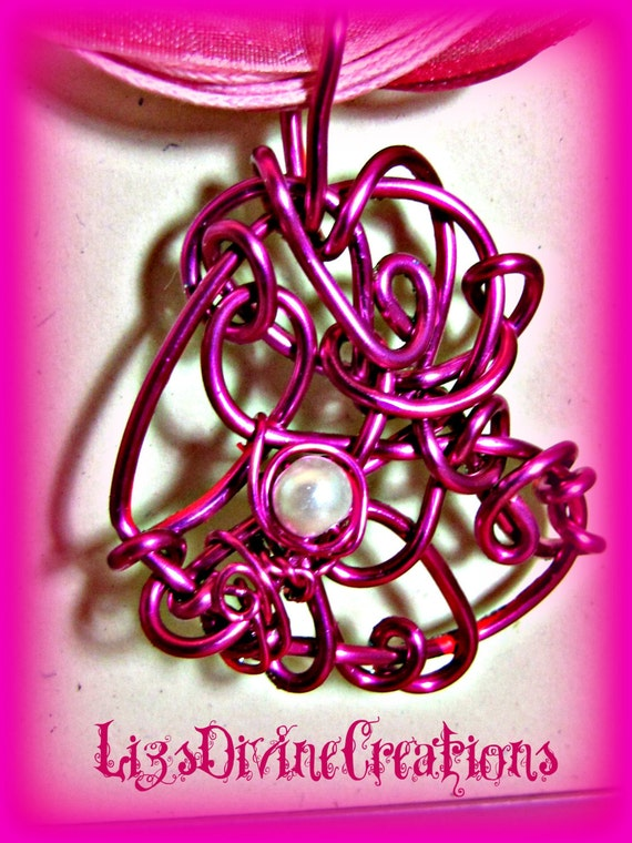 Hot Pink Wire Wrapped Reversible Painted OOAK Heart Pendant with a Set of Two Ribbons SALE Was 15.00 Now Only 7.00