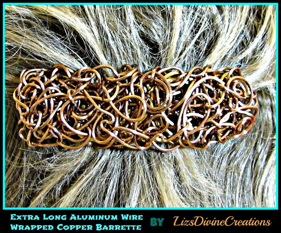 Extra Long Light Weight Aluminum Wire Wrapped Copper Barrette 4 1/2 In. x1 1/2 In.SALE Was 15.00 Now 13.00