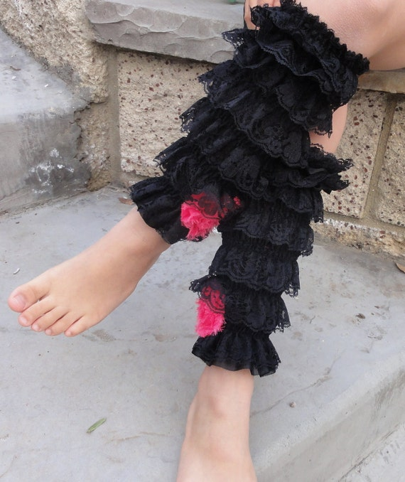 Ruffle  Lace Leg Warmers for 12mo and up to Older Girls with Shabby roses