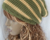 Slouchy Beanie, Mens, Womens, Hand Knitted, Tam, Dreads, Hat, Stripey Khaki Butterscotch