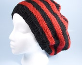 Hand Knit Black and Red Dasymutilla Slouchy Hat